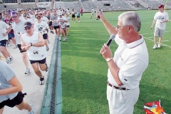 Texas A&M football coach Dennis Franchione starts the runners and walkers in the 2nd annual Coach Fran Charities First American Bank 5k Run & Walk Saturday morning at Kyle Field. More than 400 people took part in the fund -raiser for the Lincoln rrecreatoin Center.butch foto